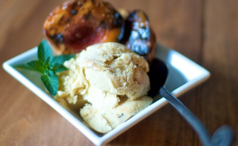 grilled peach bourbon ice cream