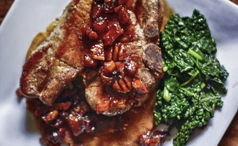 Pork Chops with Bourbon Compote